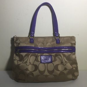 Coach canvas signature shoulder bag tote #F20026